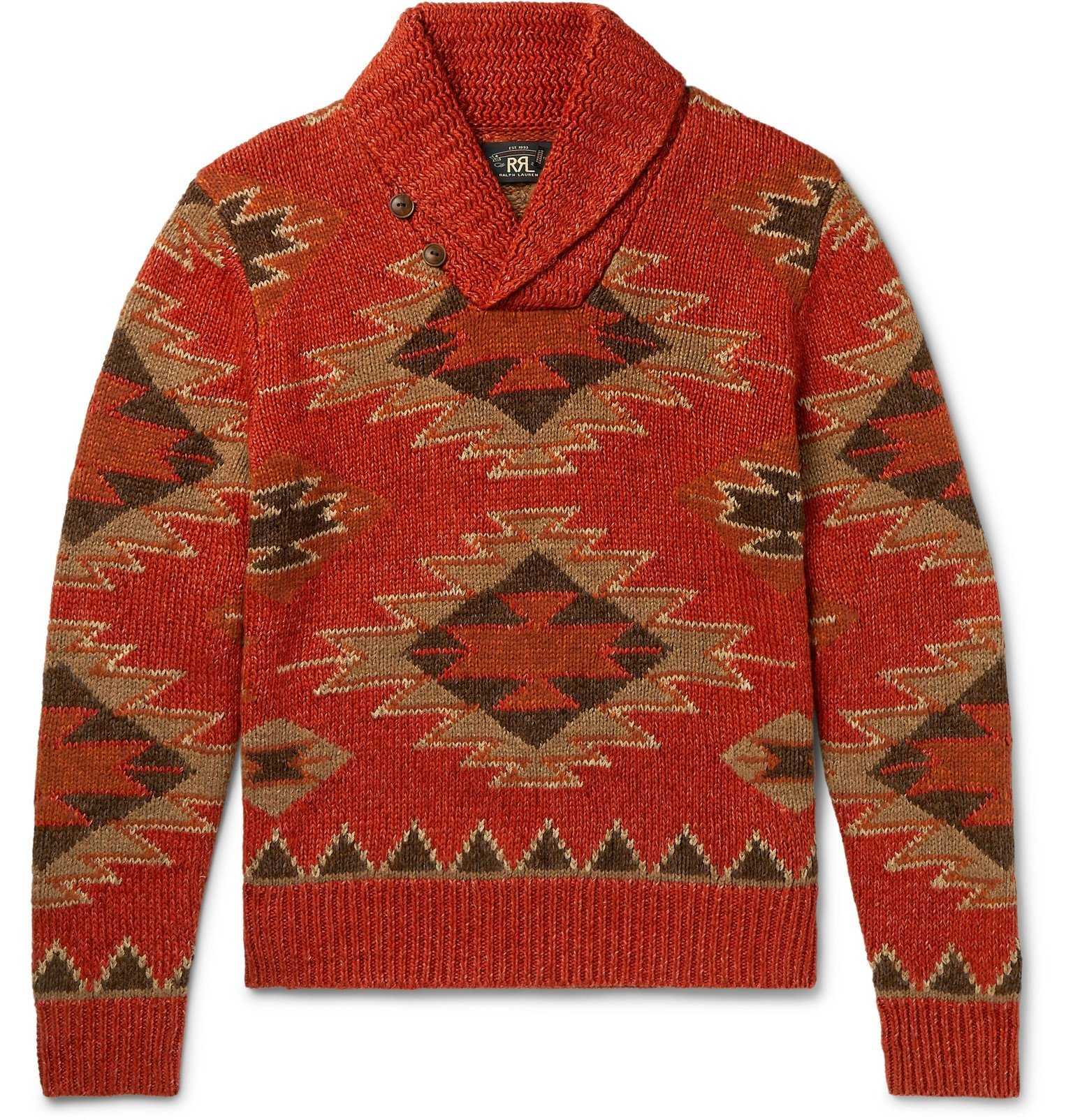 Photo: RRL - Shawl-Collar Intarsia Linen, Cotton, Silk and Wool-Blend Sweater - Orange