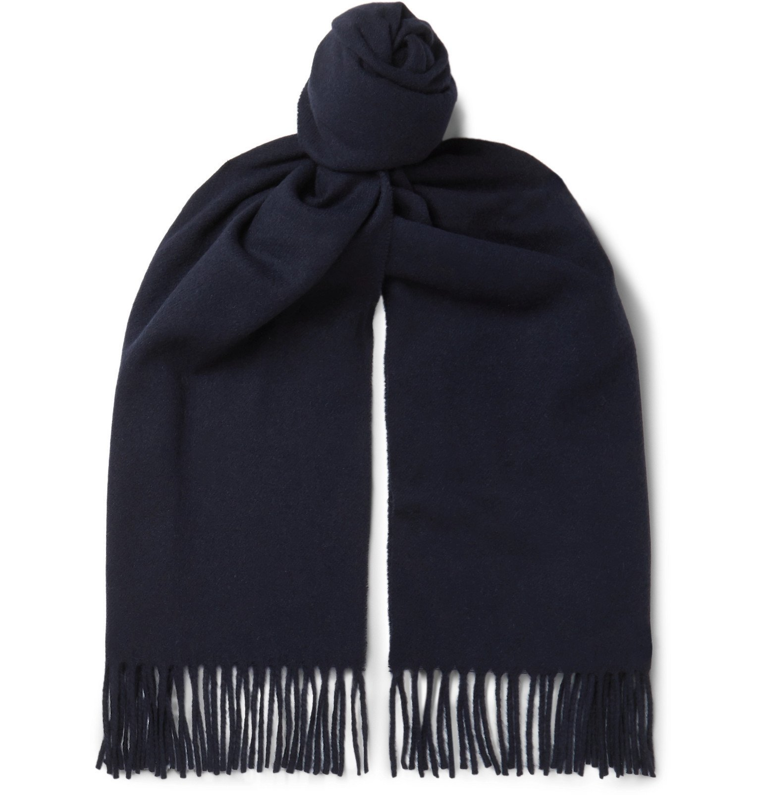 Photo: Officine Generale - Fringed Cashmere Scarf - Blue