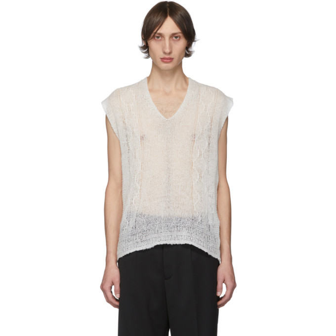 Photo: Our Legacy White Wool Reversed Cable Vest