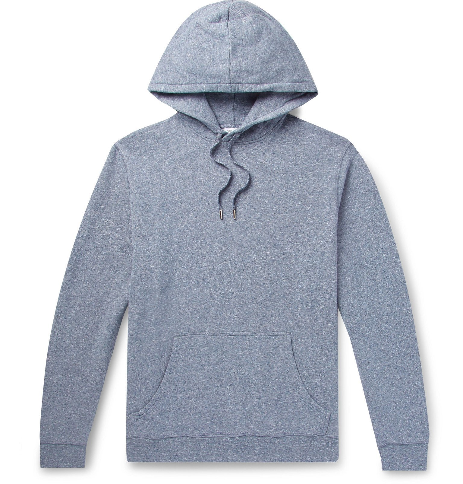 Photo: Sunspel - Mélange Loopback Cotton-Jersey Hoodie - Blue