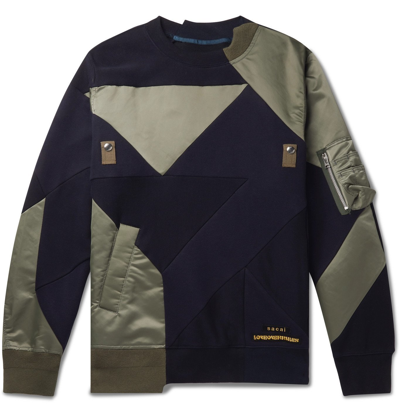 Sacai - Hank Willis Thomas Logo-Appliquéd Patchwork Shell and Cotton-Jersey Sweatshirt - Multi