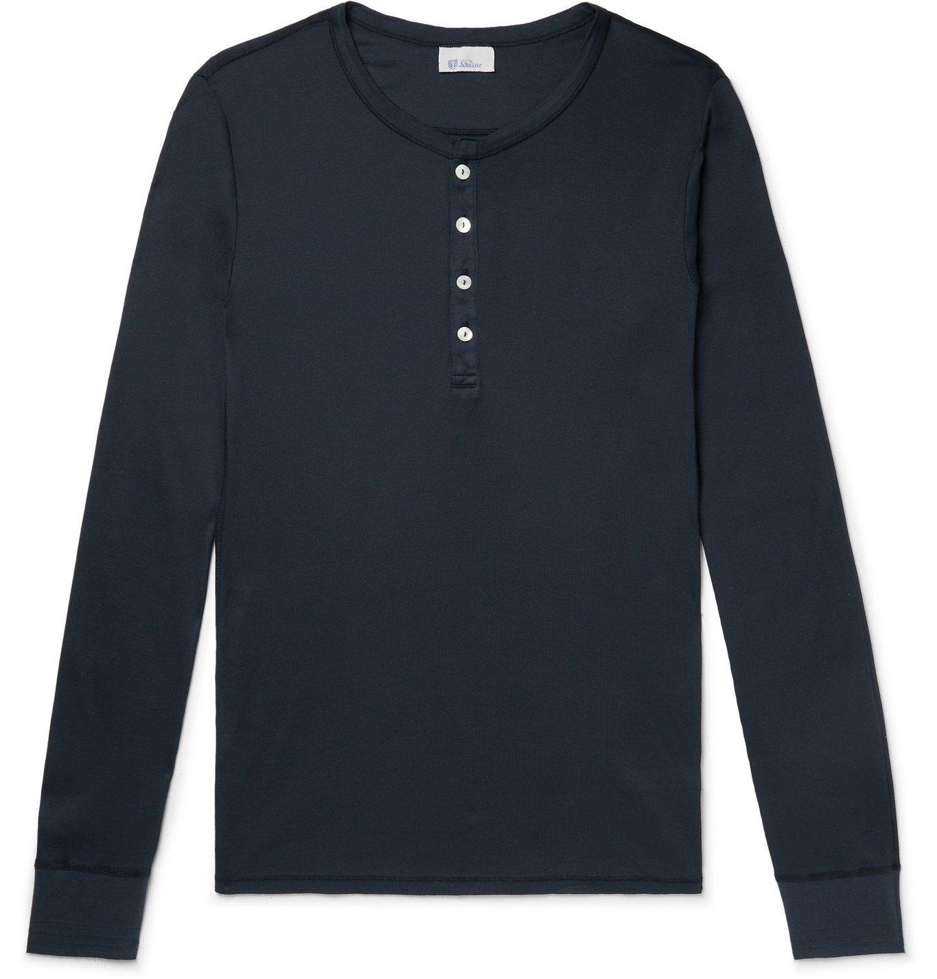 SCHIESSER - Heinrich Cotton-Jersey Henley Pyjama Top - Blue