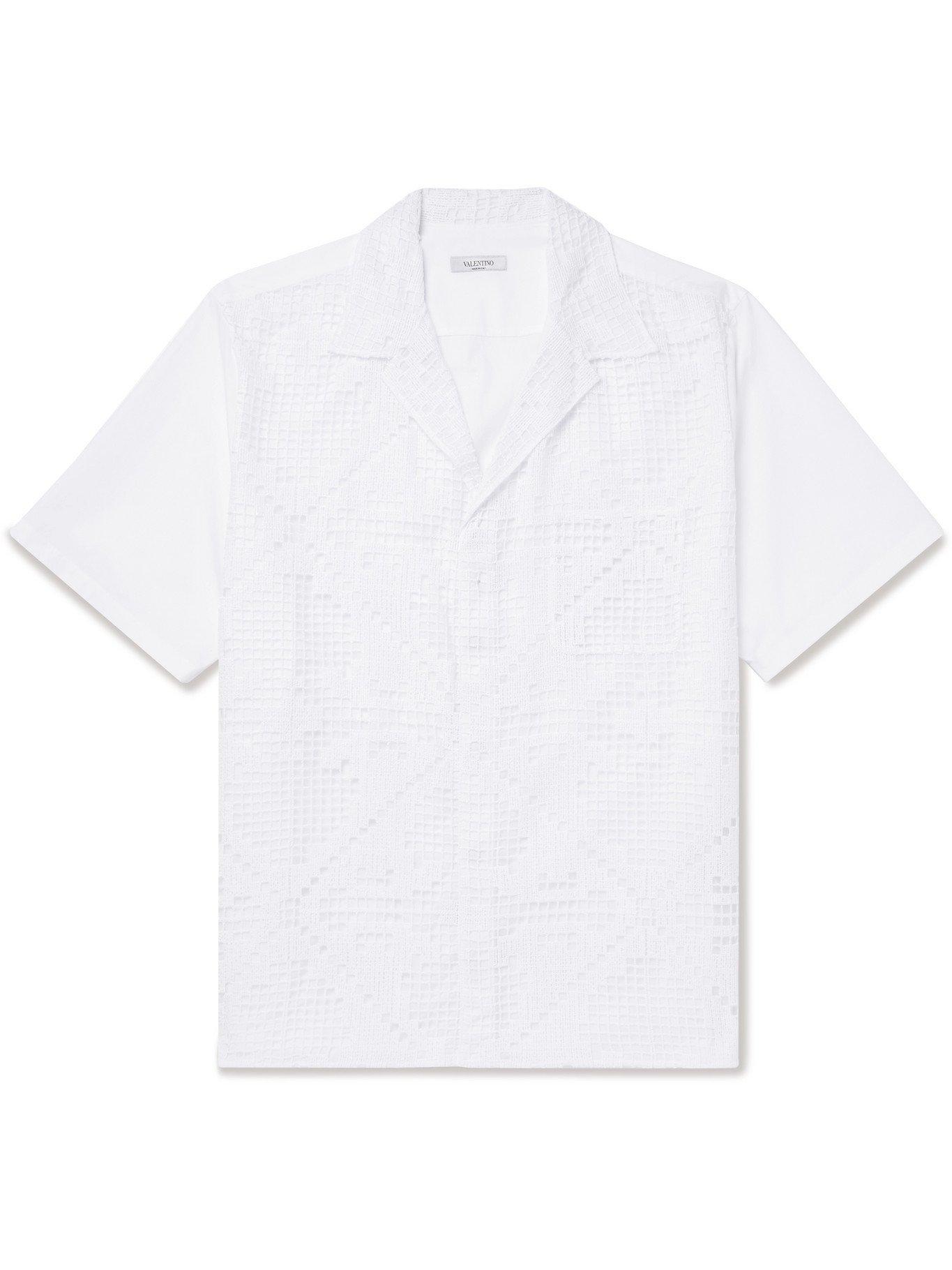 Photo: VALENTINO - Camp-Collar Macramé Lace and Cotton-Poplin Shirt - White - IT 46