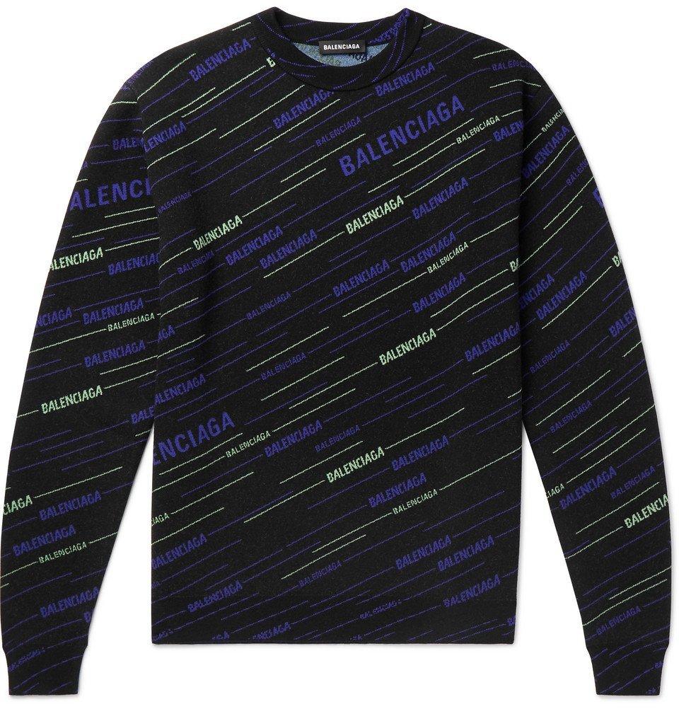 Photo: Balenciaga - Logo-Intarsia Virgin Wool-Blend Sweater - Black