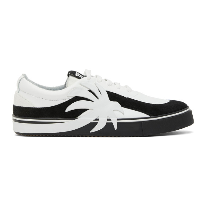 Photo: Palm Angels White and Black Palm Vulcanized Low Sneakers