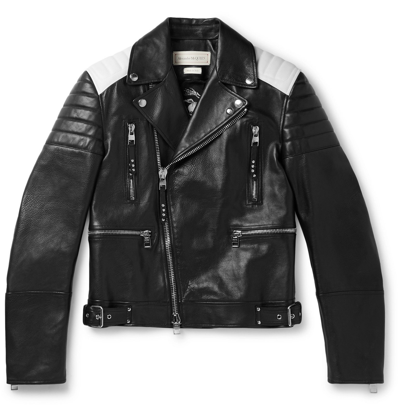 Photo: Alexander McQueen - Color-Block Full-Grain Leather Biker Jacket - Black