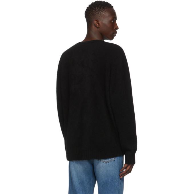 The Elder Statesman Black Goat Racing Crewneck Sweater