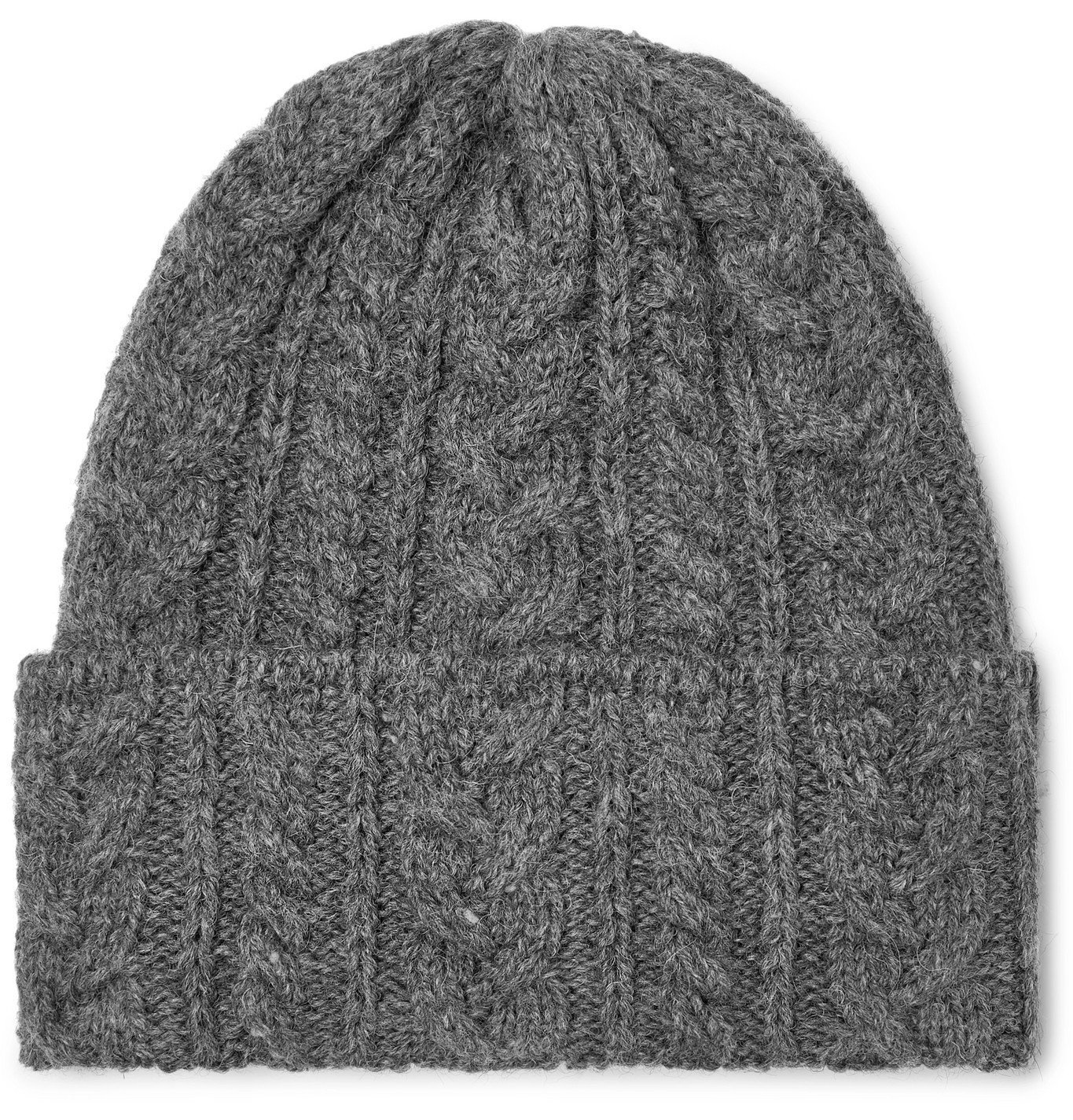 Photo: Drake's - Cable-Knit Wool Beanie - Gray
