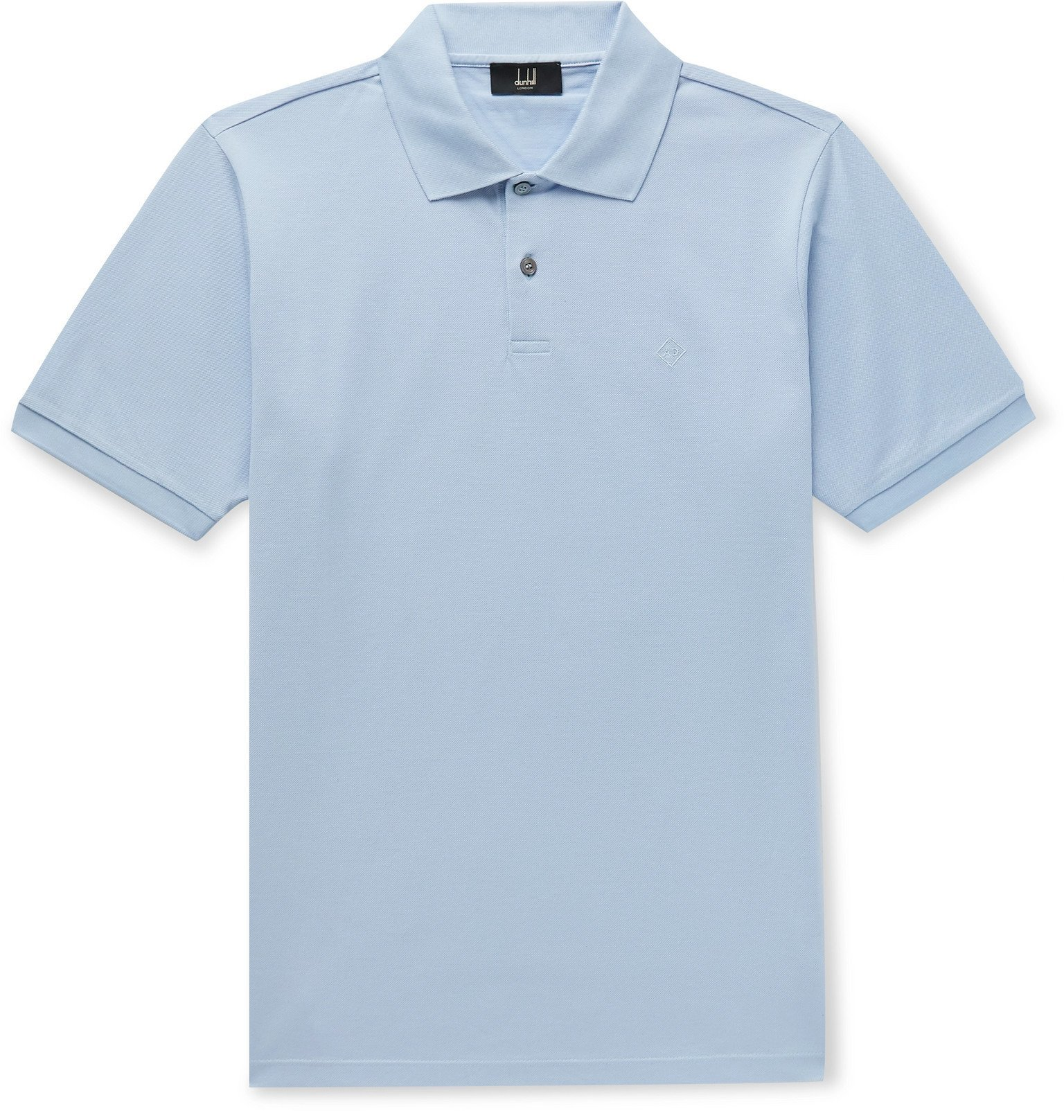 Dunhill - Slim-Fit Logo-Embroidered Cotton-Piqué Polo Shirt - Blue