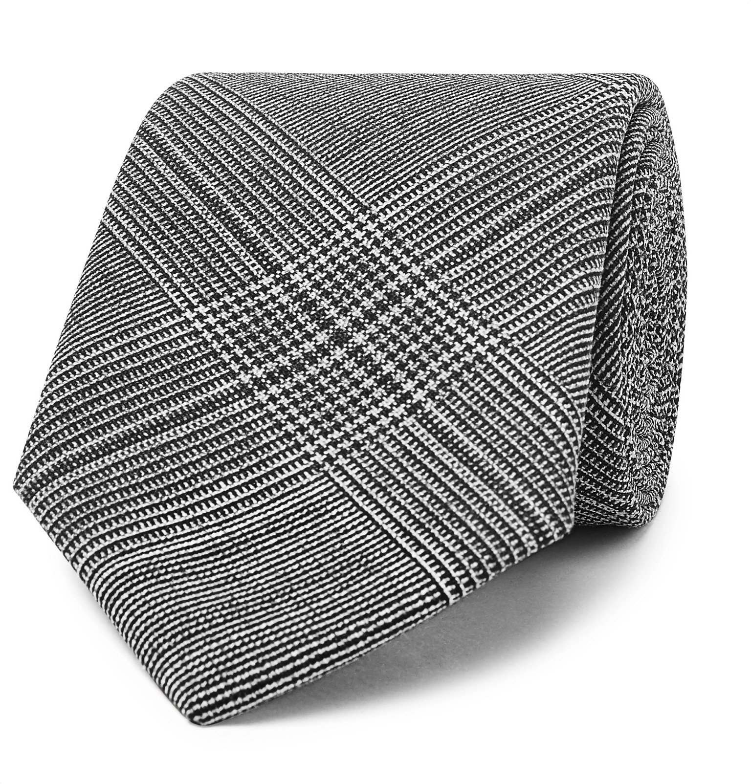 Photo: Officine Generale - 7.5cm Prince of Wales Checked Wool Tie - Gray