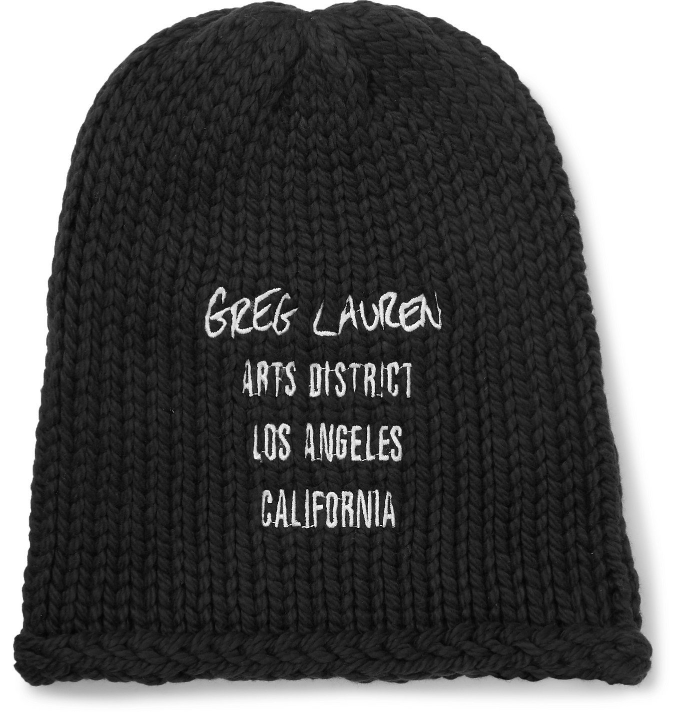 Photo: Greg Lauren - Embroidered Cotton Beanie - Black