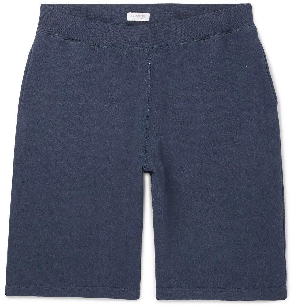 Sunspel - Brushed Loopback Cotton-Jersey Shorts - Men - Navy