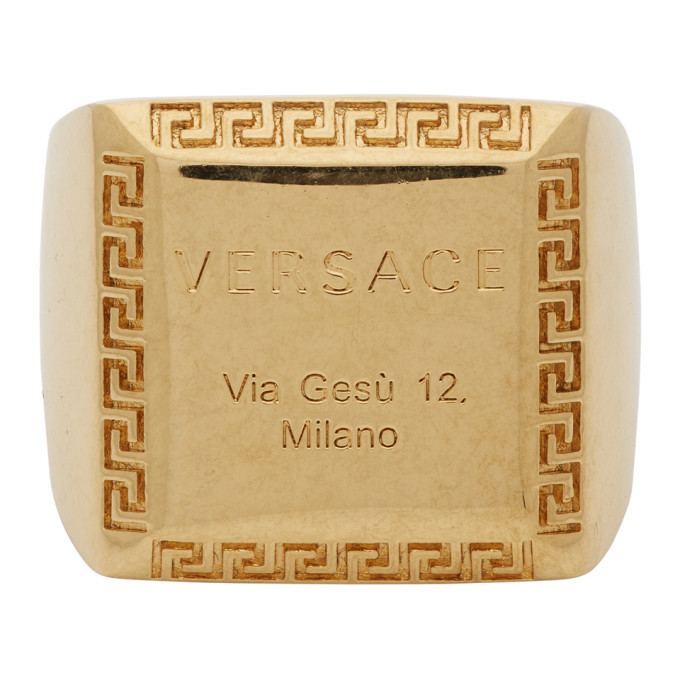 Photo: Versace Gold Address Plate Square Ring