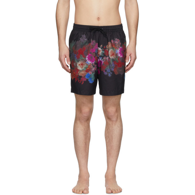 Photo: Dries Van Noten Black and Multicolor Phibbs Floral Swim Shorts