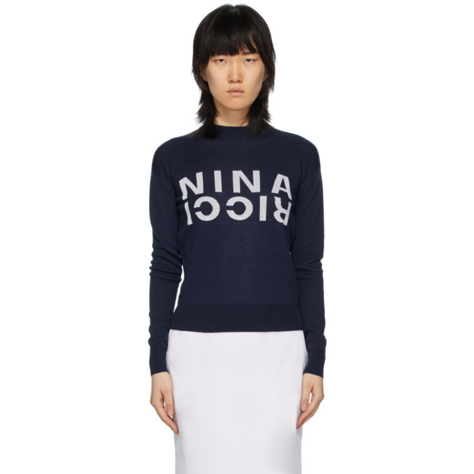 Nina Ricci Navy Silk Branded Sweatshirt