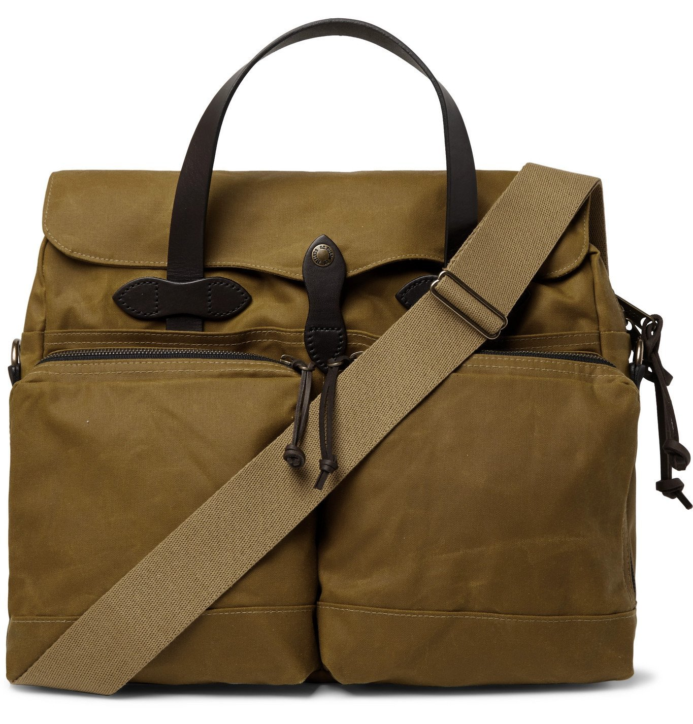 Filson - 24-Hour Leather-Trimmed Coated-Canvas Briefcase - Brown