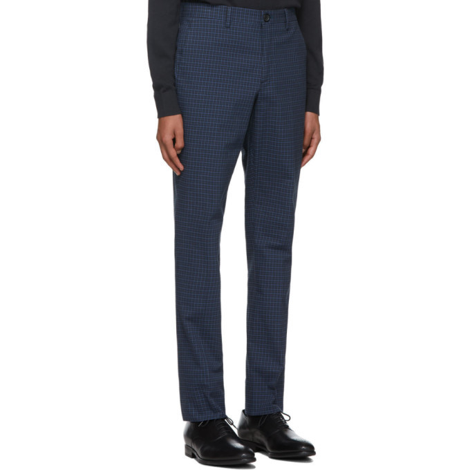 PS by Paul Smith Blue Check Mid Fit Chino Trousers