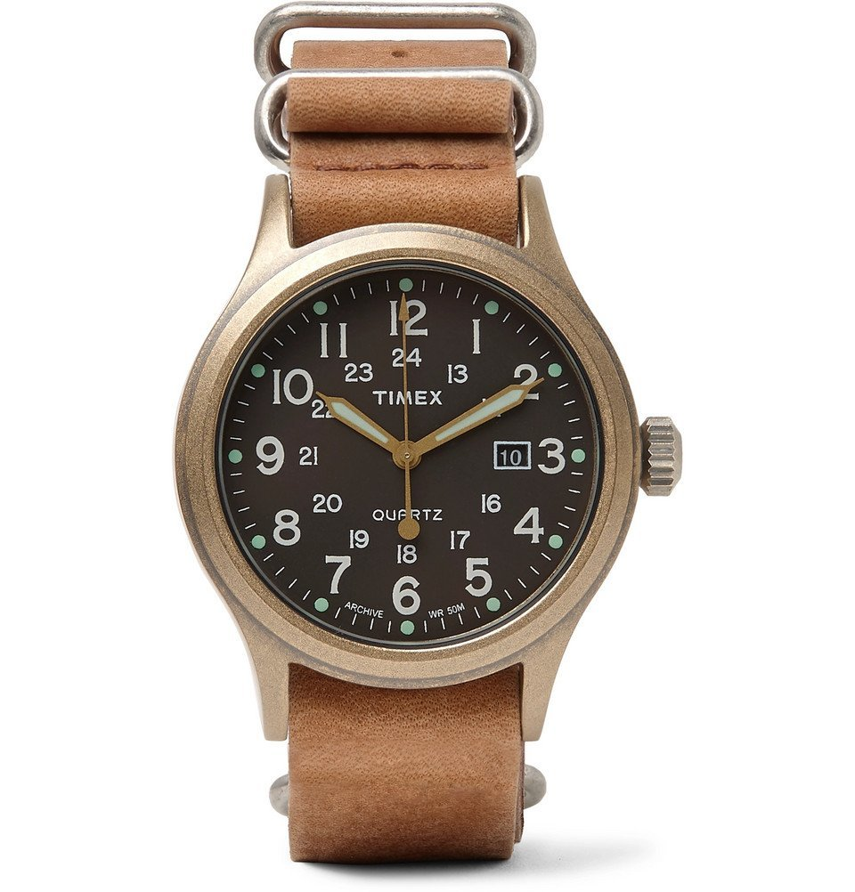 Photo: Timex - Allied Stainless Steel and Stonewashed Leather Watch - Men - Tan