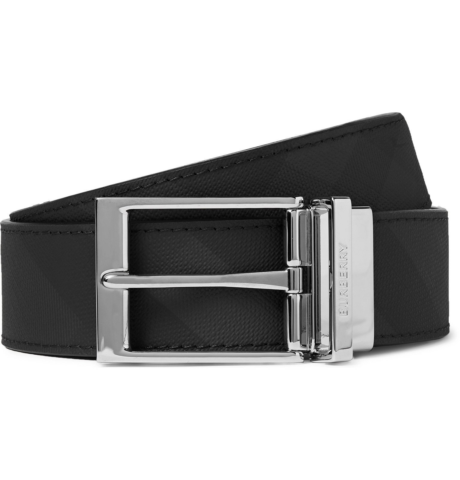Photo: Burberry - 3.5cm Black Reversible Checked Leather Belt - Gray