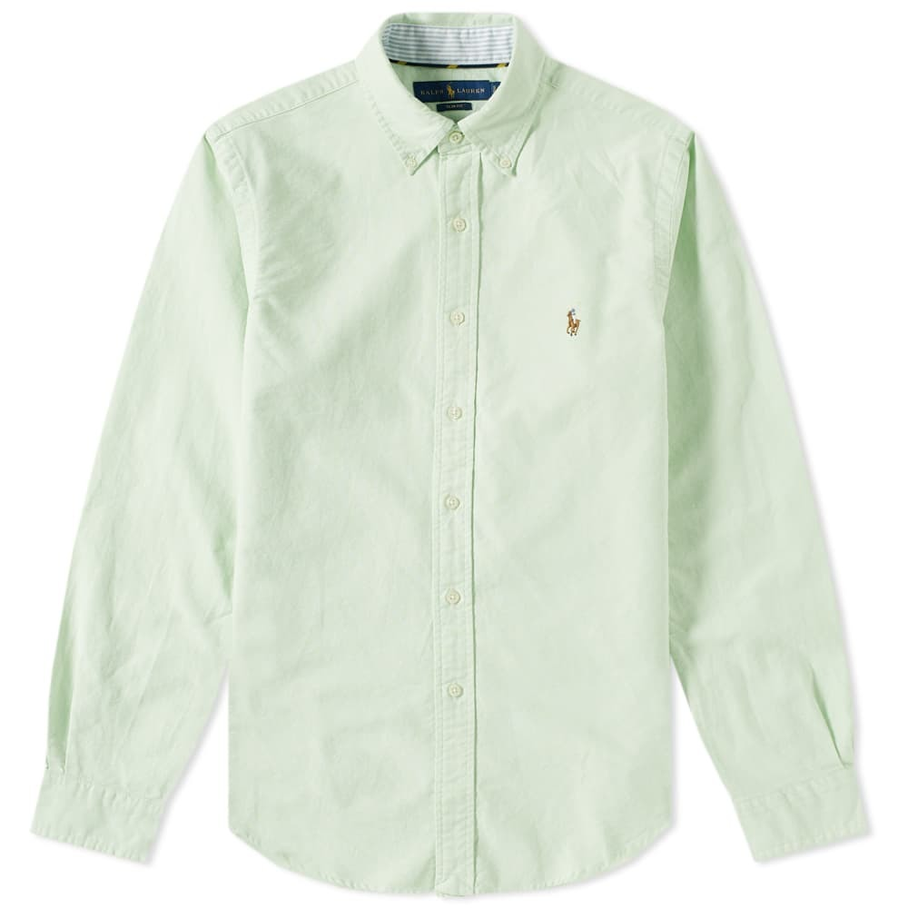 Photo: Polo Ralph Lauren Slim Fit Button Down Oxford Shirt Lime & White