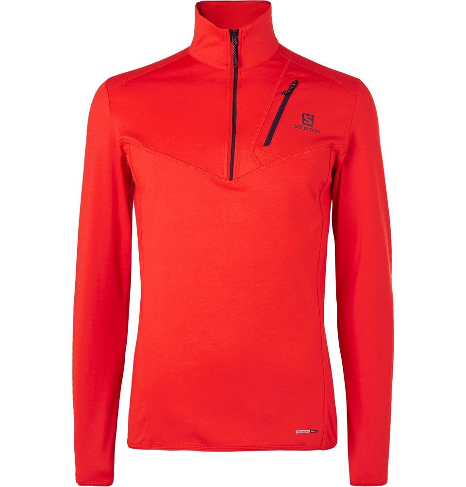 Photo: Salomon - Discovery Half-Zip Stretch-Jersey Mid Layer - Men - Red