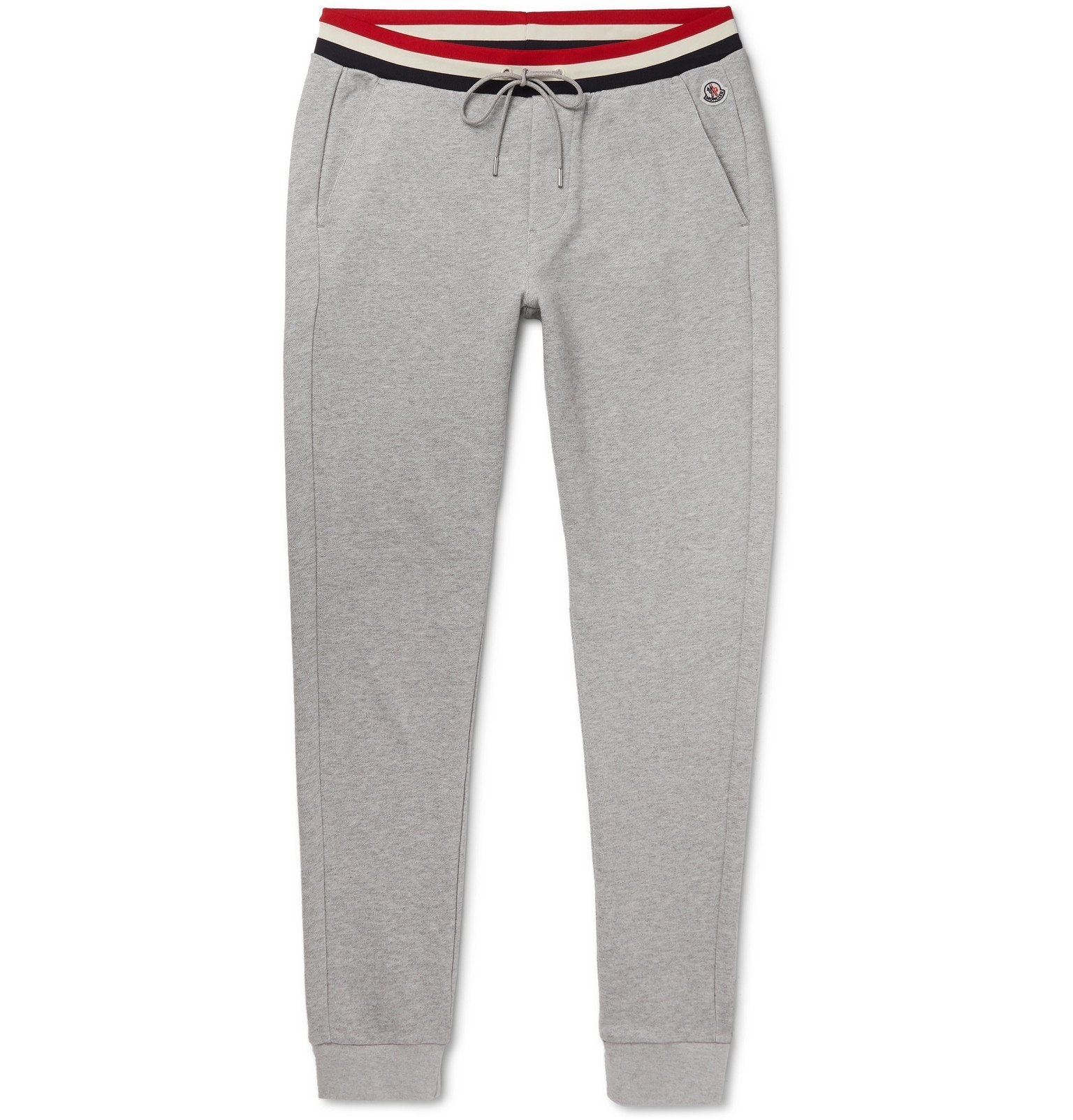 Photo: Moncler - Slim-Fit Striped-Trimmed Mélange Loopback Cotton-Jersey Sweatpants - Gray