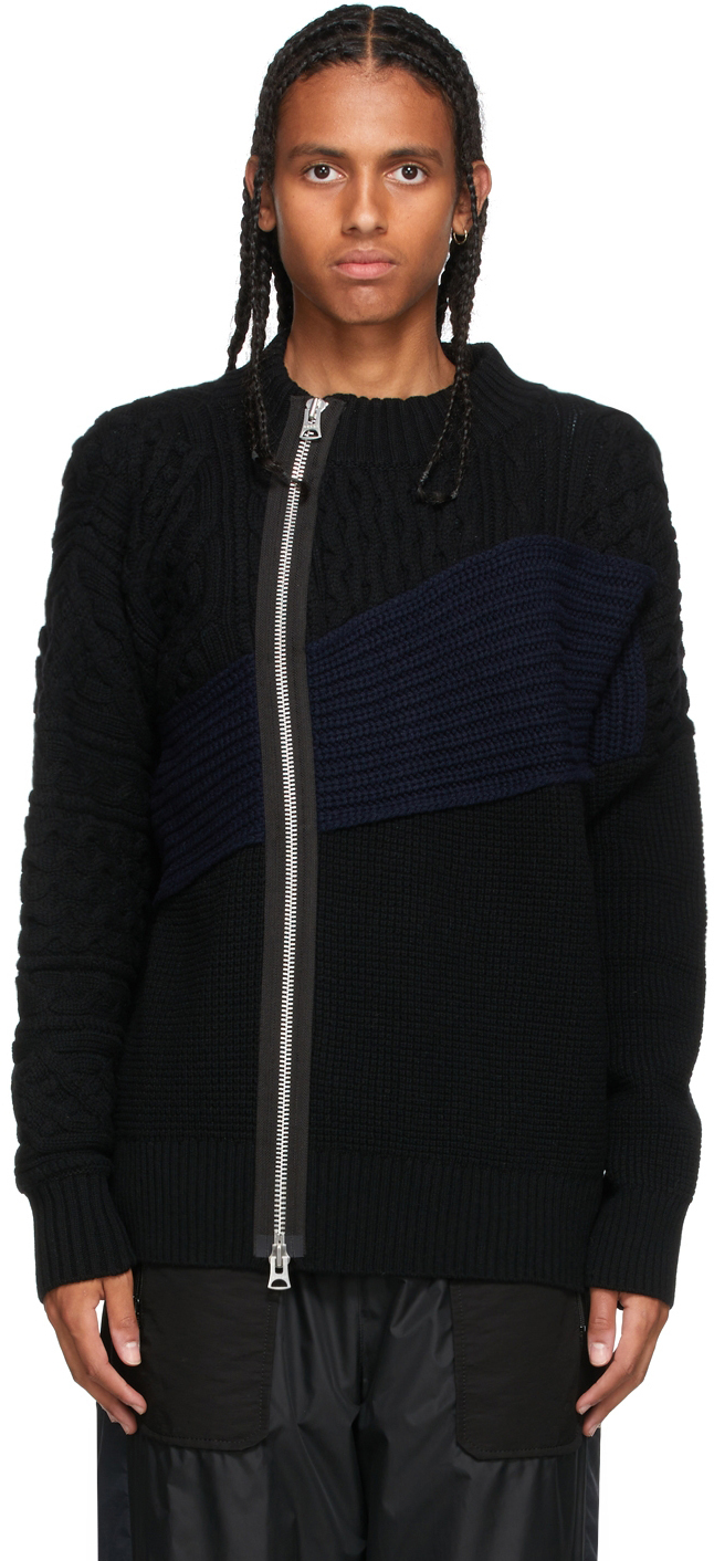 Photo: Sacai Black & Navy Cable Knit Zip-Up Sweater