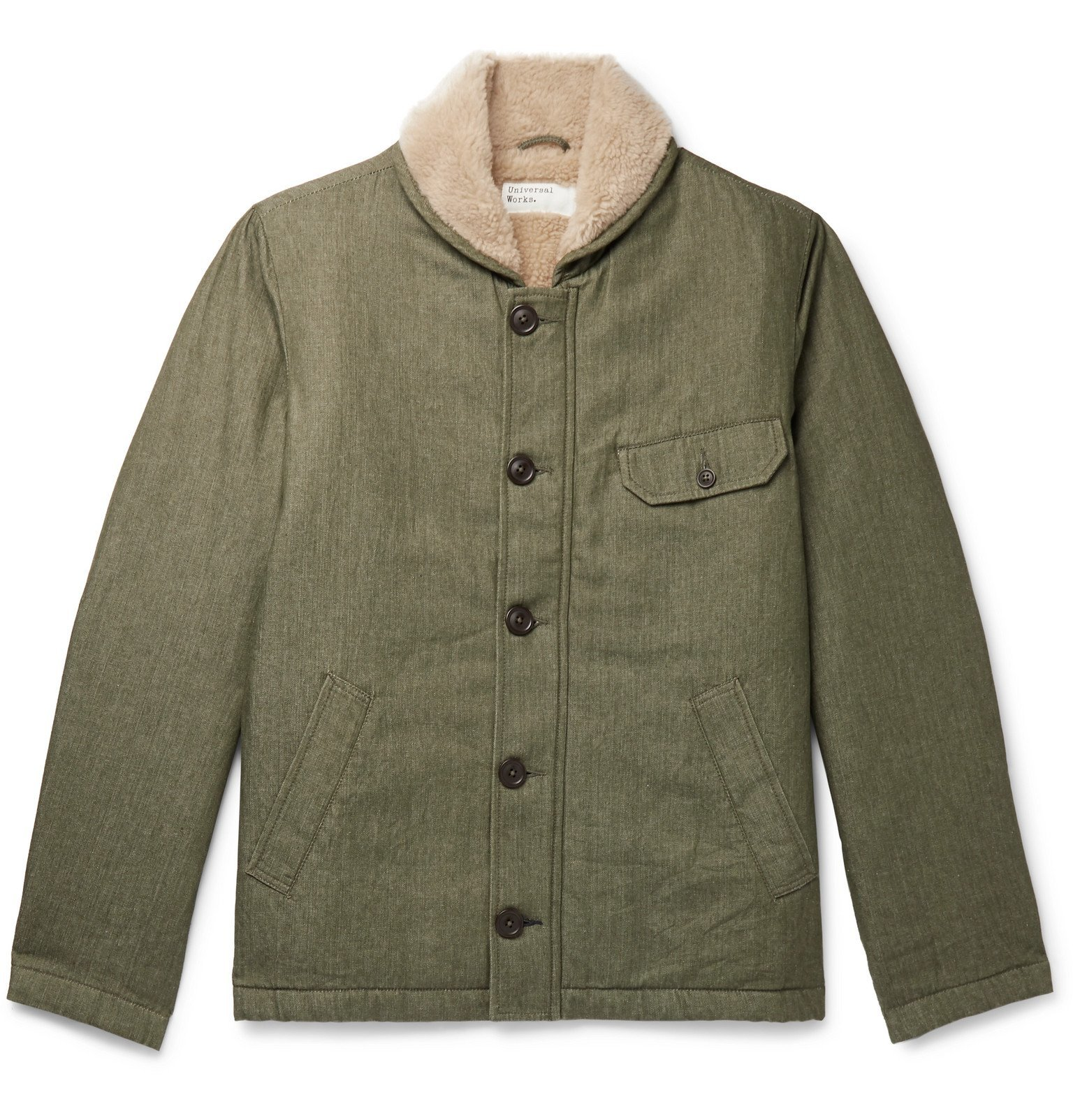 Photo: Universal Works - N1 Fleece-Lined Cotton-Twill Jacket - Green