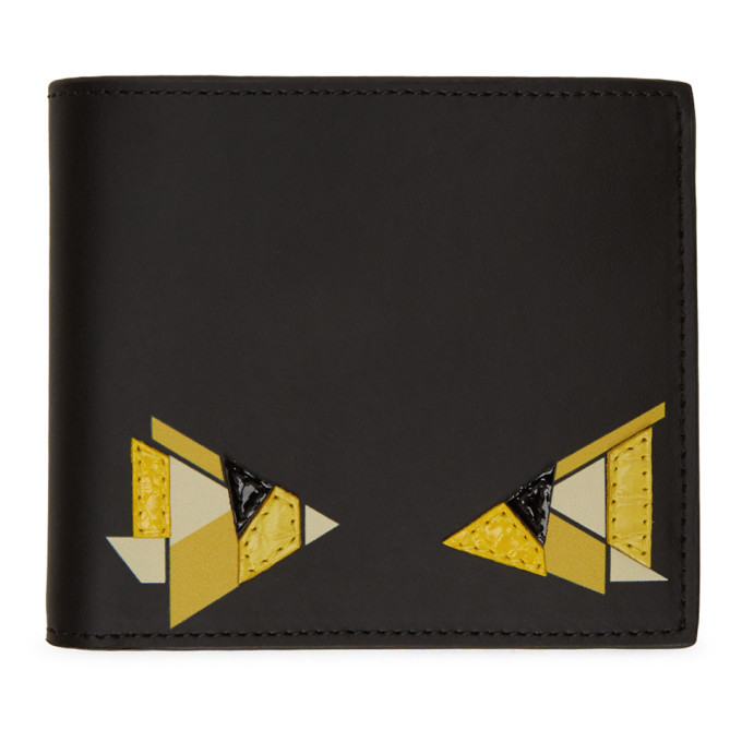 Photo: Fendi Black and Yellow Digital Bag Bugs Classic Wallet