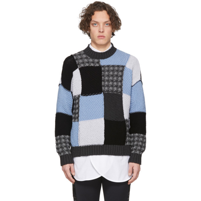 Photo: JW Anderson Blue and Grey Patchwork Sweater