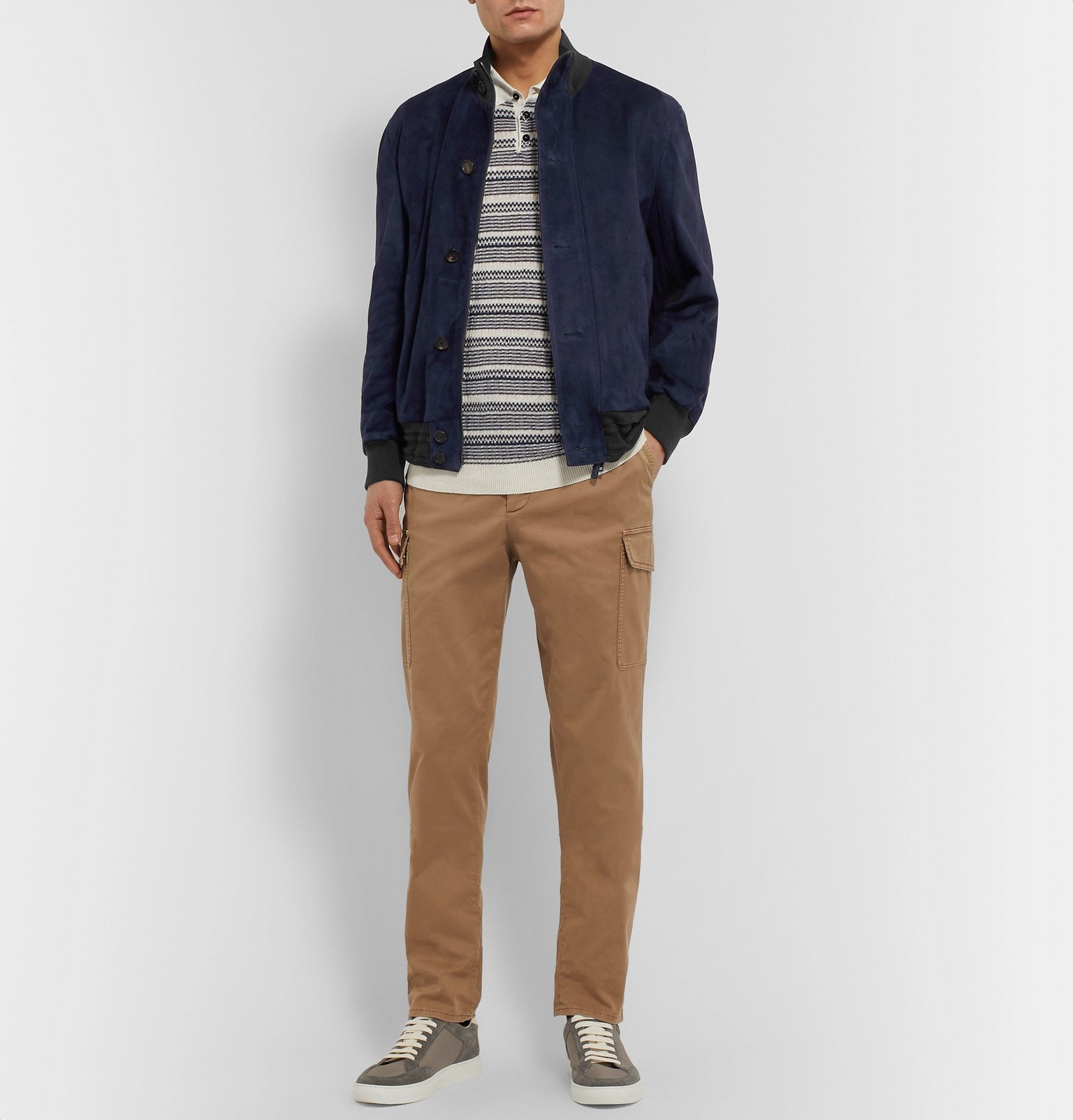 Photo: Brioni - Suede and Wool Bomber Jacket - Blue
