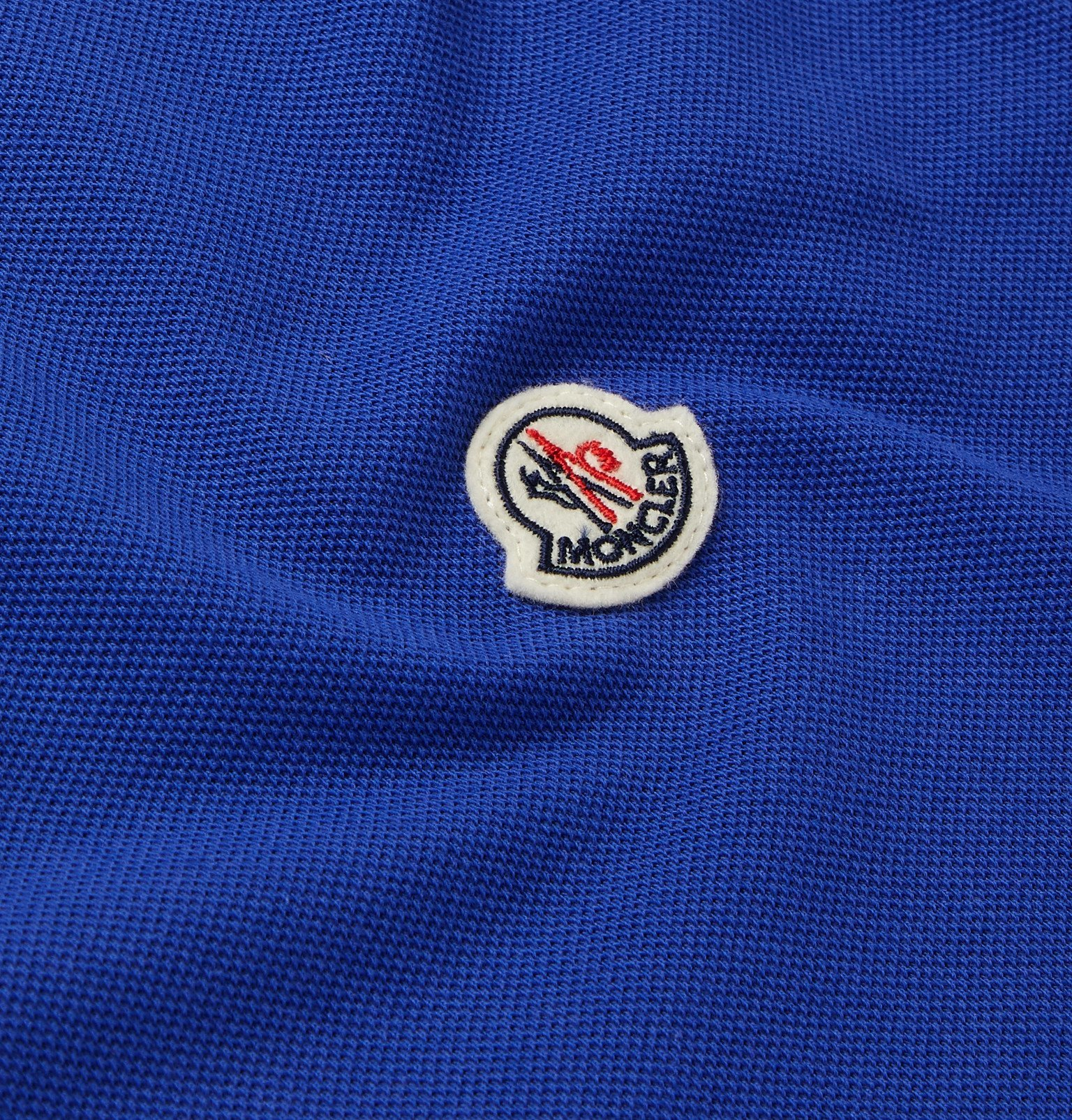 Moncler - Contrast-Tipped Cotton-Piqué Polo Shirt - Blue