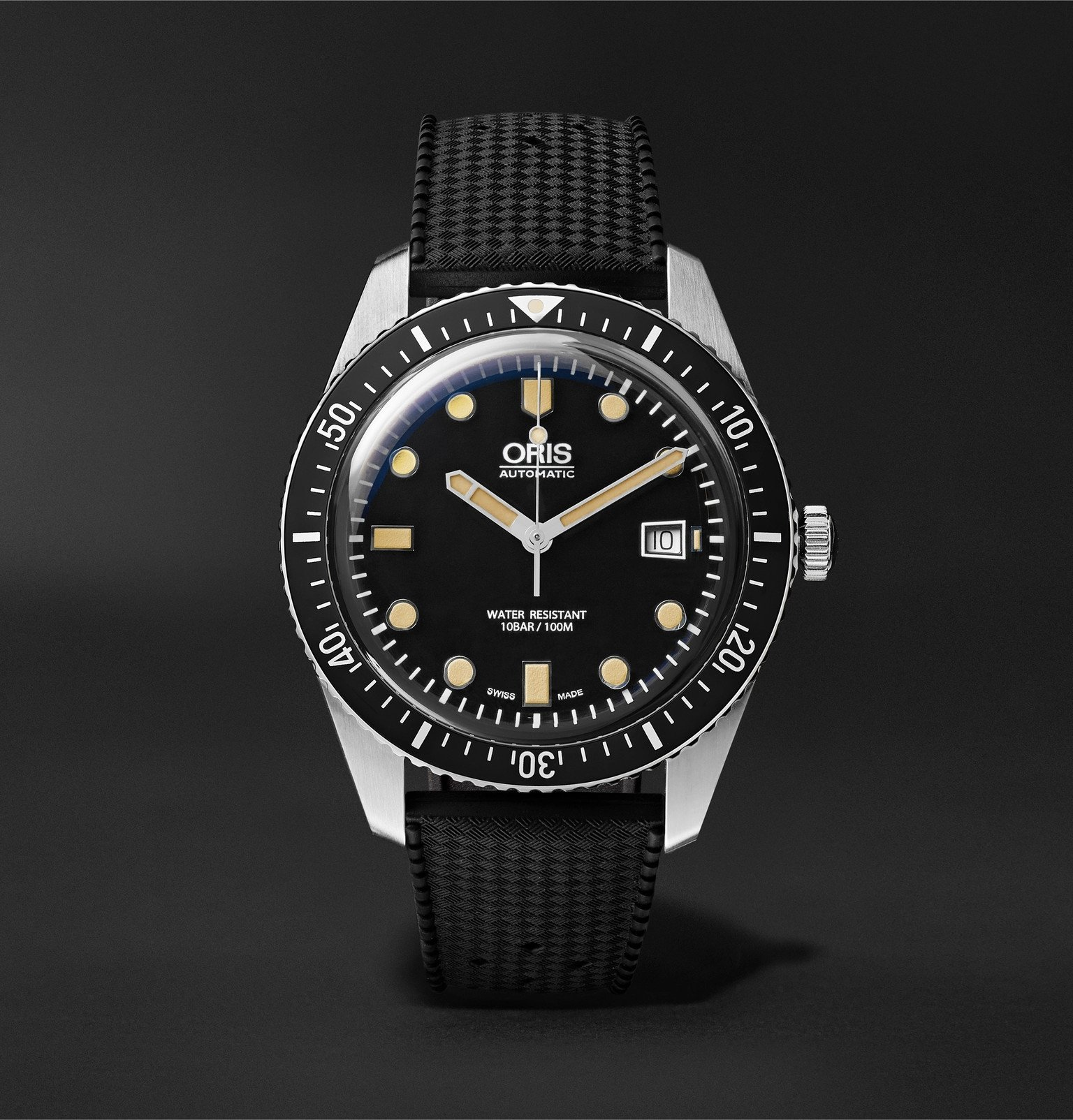 Photo: Oris - Divers Sixty-Five Automatic 42mm Stainless Steel and Rubber Watch - Black