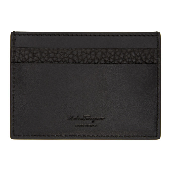 Salvatore Ferragamo Black Firenze Logo Card Holder