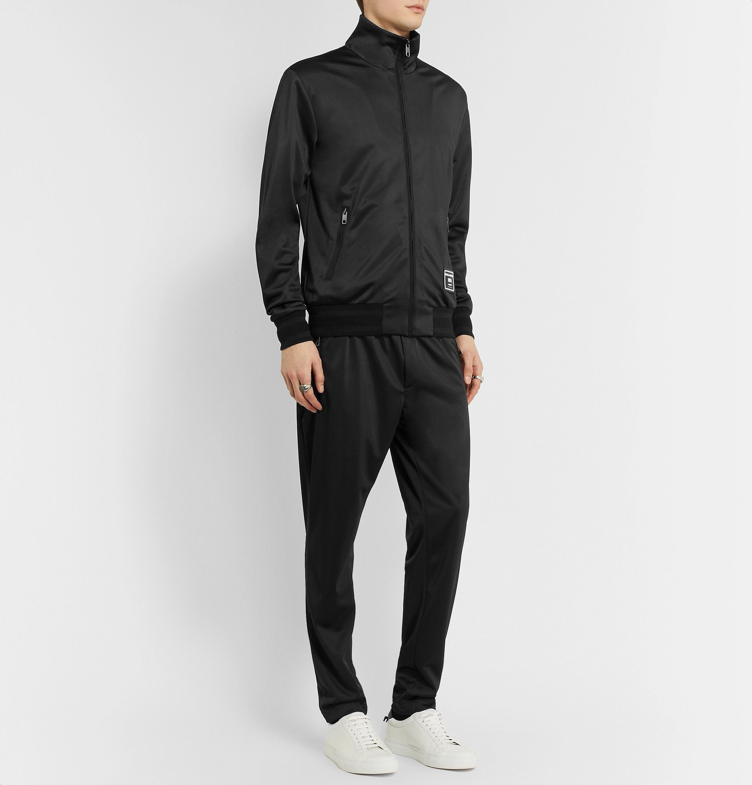 Dolce & Gabbana - Slim-Fit Logo-Appliquéd Satin-Jersey Track Jacket - Black