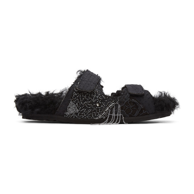 Photo: By Walid Black Shearling Yves Sandals