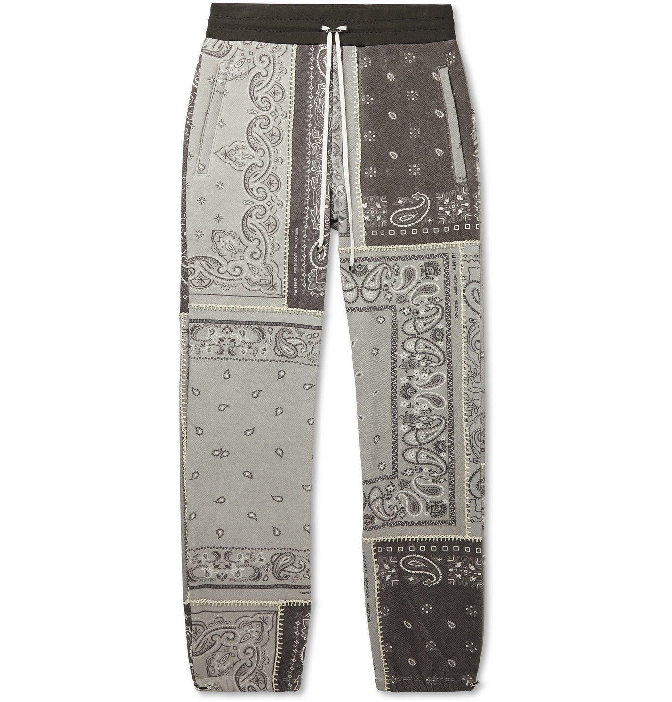 Photo: AMIRI - Tapered Bandana-Print Cotton-Jersey Drawstring Sweatpants - Gray
