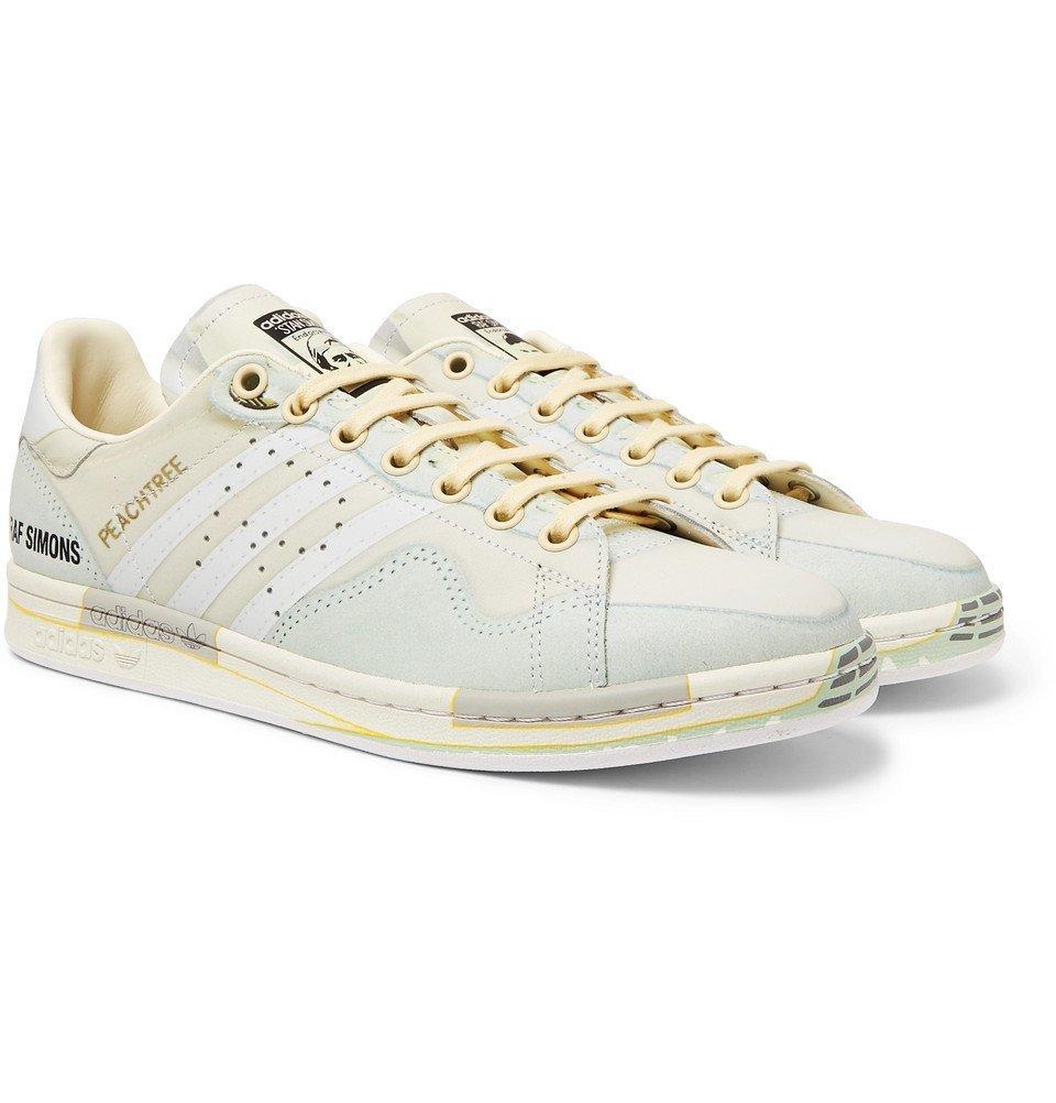Photo: Raf Simons - adidas Originals Peach Stan Smith Printed Leather Sneakers - White