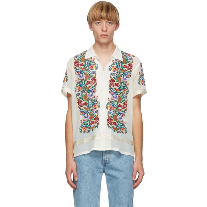 Photo: Bode White Jacquard Floral Short Sleeve Shirt