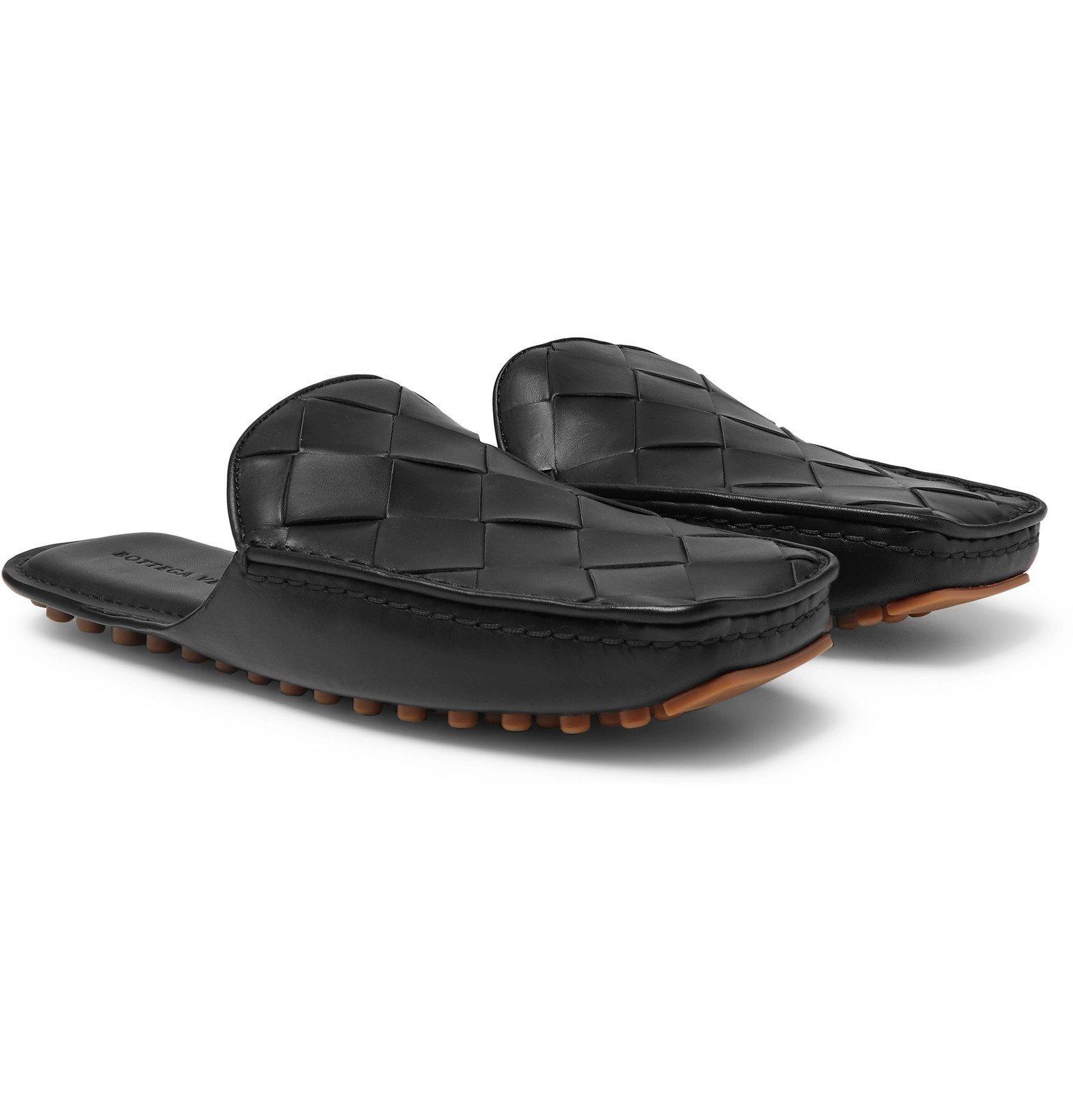 Photo: Bottega Veneta - Intrecciato Leather Backless Loafers - Black
