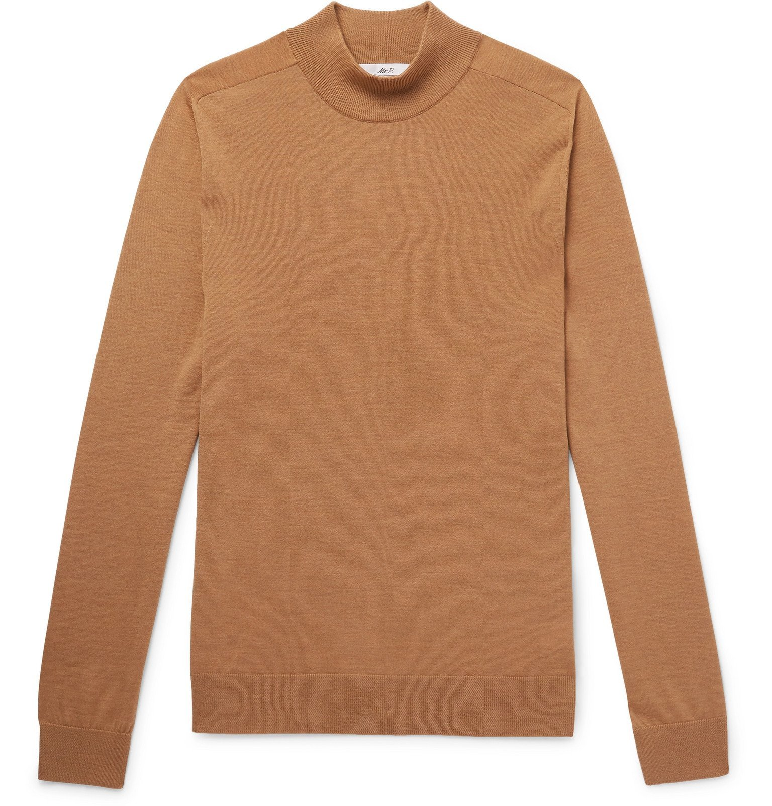 Photo: Mr P. - Merino Wool Mock-Neck Sweater - Brown