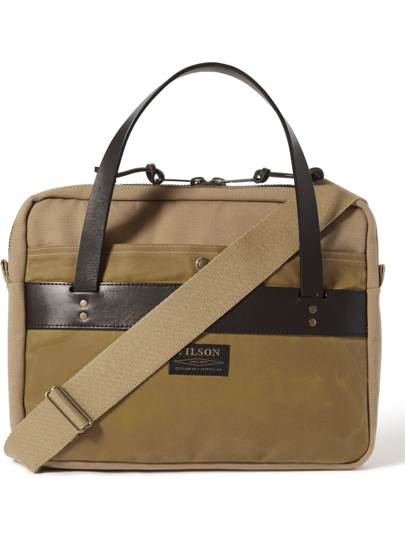 Photo: FILSON - Canvas and Leather-Trimmed Cotton-Twill Briefcase