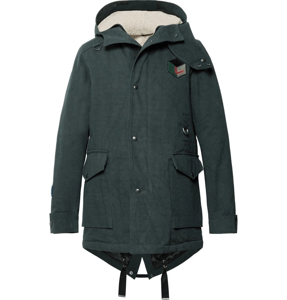 Photo: Lanvin - Appliquéd Cotton-Twill Hooded Parka with Detachable Faux Shearling Lining - Men - Emerald