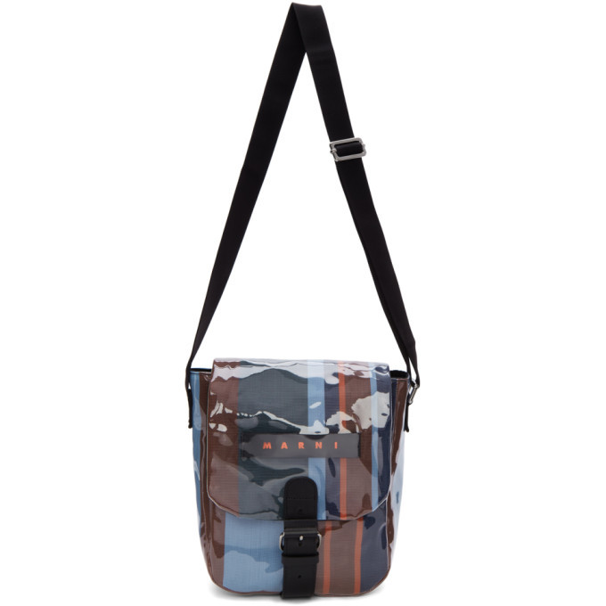 Photo: Marni Blue Striped Glossy Grip Messenger Bag