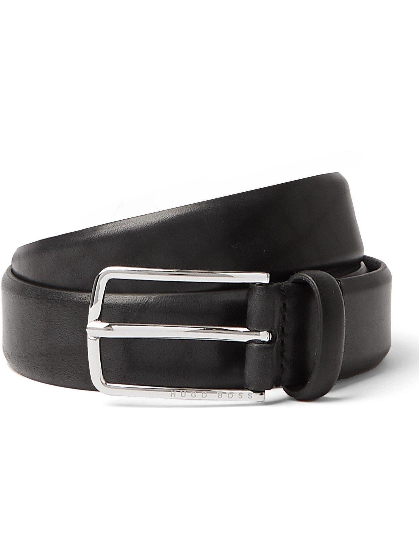 HUGO BOSS - 3cm Leather Belt - Black - EU 95