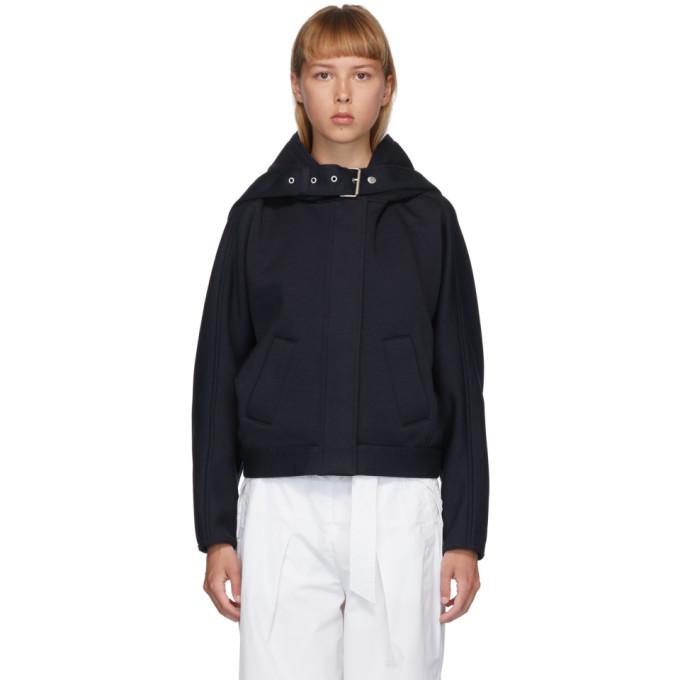 3.1 Phillip Lim Navy Buckle Strap Hooded Jacket