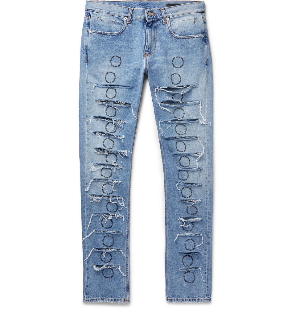Photo: 1017 ALYX 9SM - Skinny-Fit Distressed Embroidered Denim Jeans - Blue