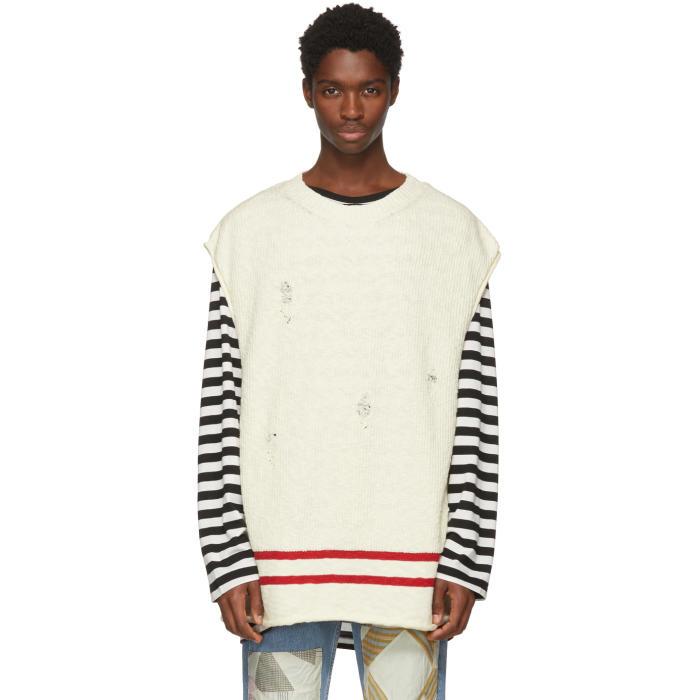 Photo: Undercover White Sleeveless Distressed Sweater