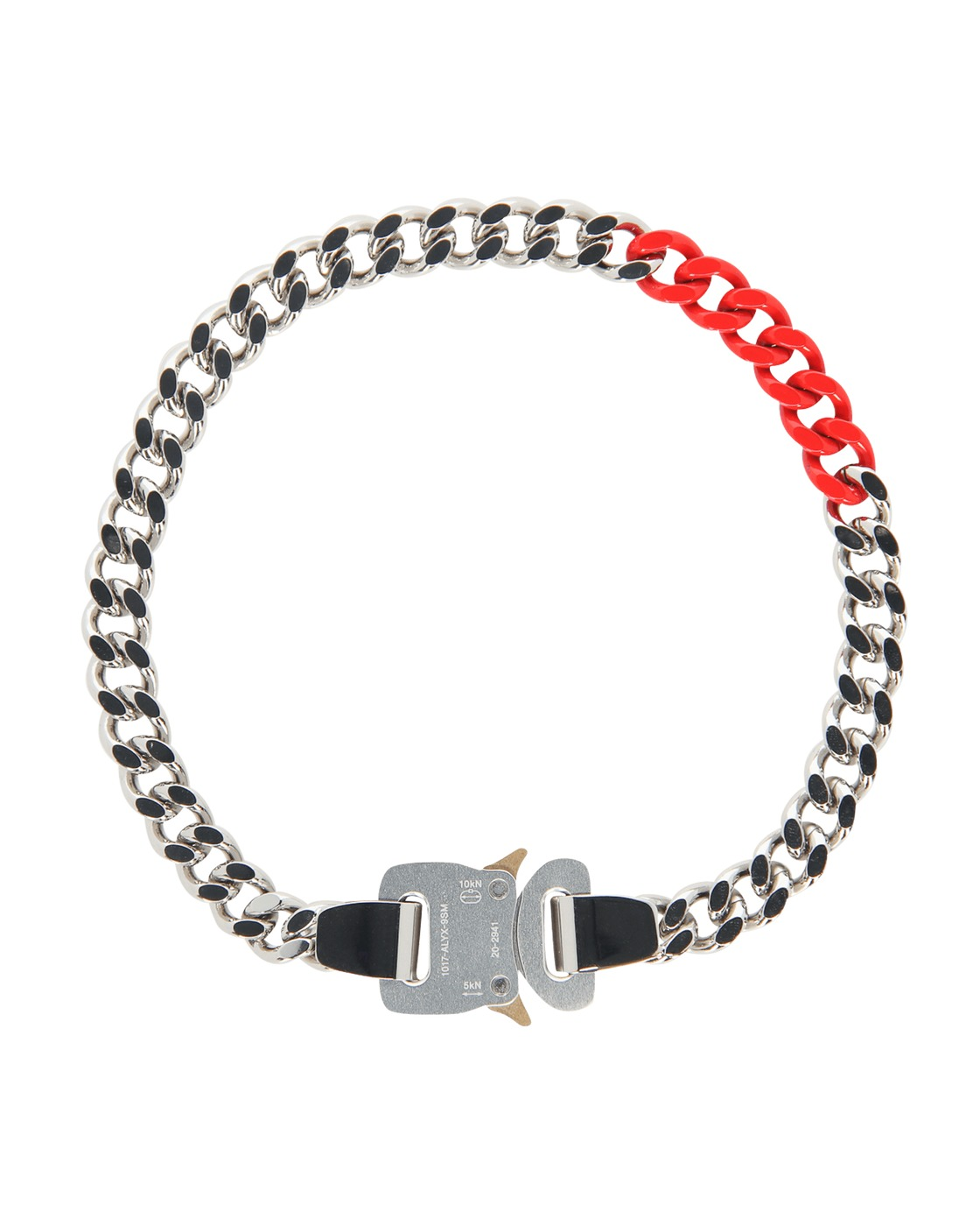 Photo: 1017 Alyx 9sm Colored Links Buckle Necklace Silver/Red