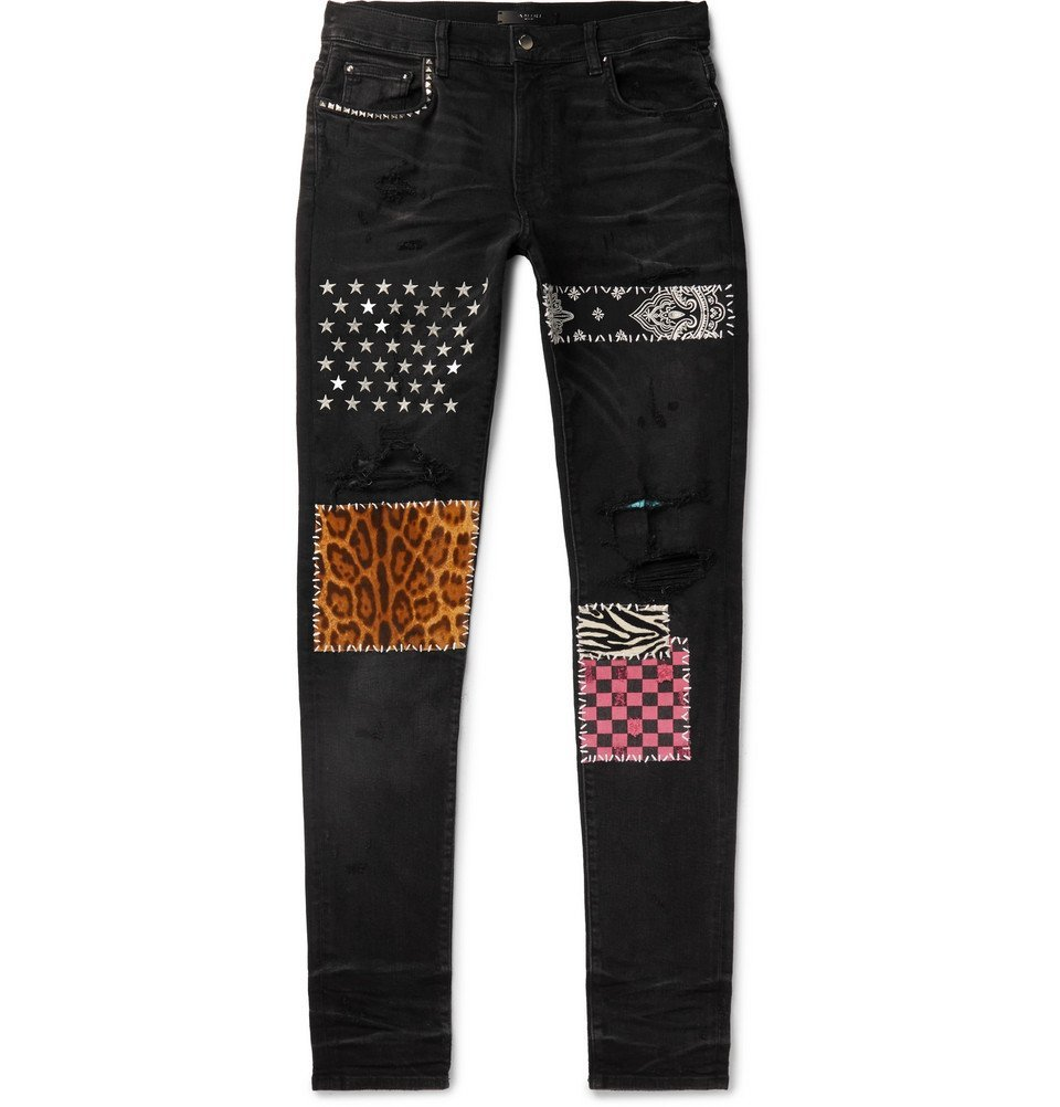 Photo: AMIRI - Skinny-Fit Panelled Distressed Stretch-Denim Jeans - Black
